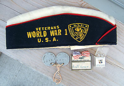 US Army Veterans WWI  Dog Tags Saeger Garrison Hat FOE Eagles Pin