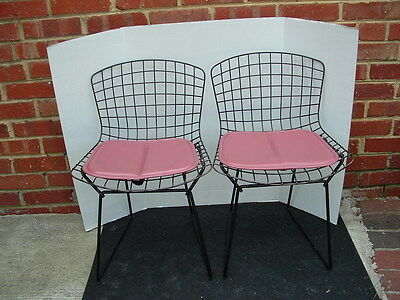 2 Mid Century Bertoia Black Wire Child's Chairs with Pads