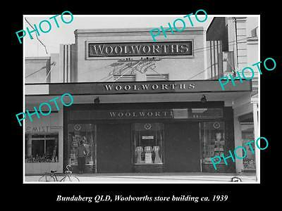 Old Large Historic Photo Of Bundaberg Qld View Of Woolworths Store Building 1939