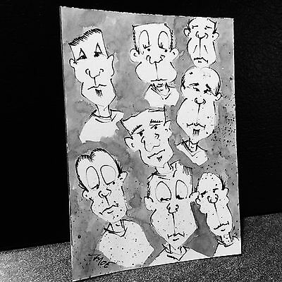 Aceo signed original by MOE outsider art cartoon black & white ink sketch sb37