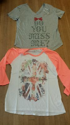 NEW Miss Me T Shirts  tees, Long Sleeve assorted styles LOT OF 2. Sz: S