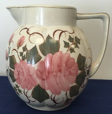 Vintage Floral Hand Painted In Thailand Water Serving Pitcher Open Container*