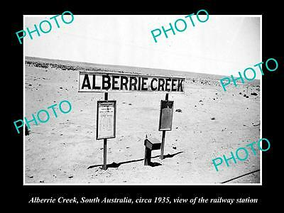 Old Large Historic Photo Of Alberrie Creek South Australia, Railway Station 1935