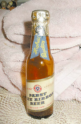 Vtg 30s 40s PBR Pabst Blue Ribbon Mini Peoria Heights Souvenir Beer Bottle Glass