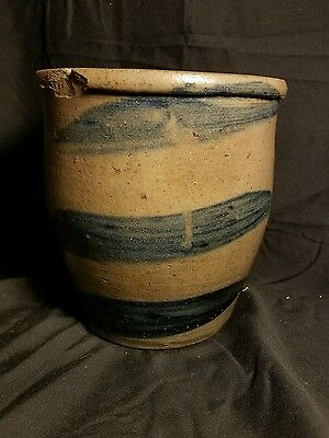 19C Stoneware  Cobalt Decorated 3 Stripe Crock..antique Striper Ovoid