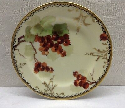 """PICKARD HAND PAINTED PLATE - HAVILAND FRANCE - 6"""", Heavy Gold Edge, Red Currants"""