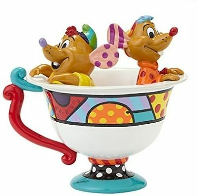 Disney by Britto Enesco Cinderella Jaq and Gus in Tea Cup Figure NEW