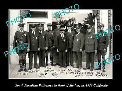 OLD LARGE HISTORIC PHOTO OF SOUTH PASADENA CALIFORNIA, POLICE DEPARTMENT c1933 1