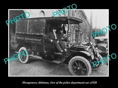 OLD LARGE HISTORIC PHOTO OF MONTGOMERY ALABAMA, THE POLICE DEPARTMENT CAR c1920