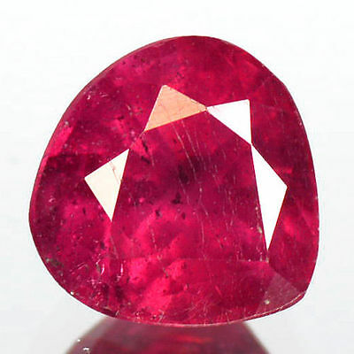 0.87Cts - Natural, Strawberry Red Ruby, Pear, VS, Africa, 1Pcs, Heated