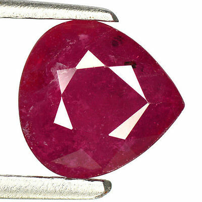 2.07Cts - Natural, Strawberry Red Ruby, Pear, VS, Africa, 1Pcs, Heated