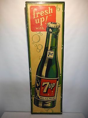 """Vintage - 7 UP - 1940'S Advertising Sign - 54"""" x 16.5"""""""