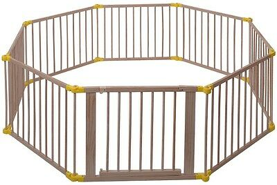 Baby Playpen 8 Panel Foldable Wooden Frame Kids Safety Play Fence Indoor Outdoor