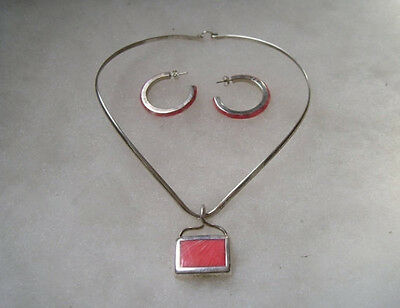 Mexican Sterling Silver 925 Pink Coral Pendant Necklace Hoop Earrings Set