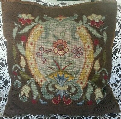"""William Morris Style Floral Antique Needlepoint Pillow Brown Vintage @20"""" Square"""