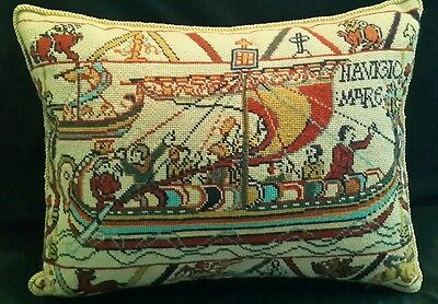 """Vtg Navigio Mare Needlepoint Pillow ~ Hand Made ~ Bayeux Tapestry ~ @17"""" x 13"""""""