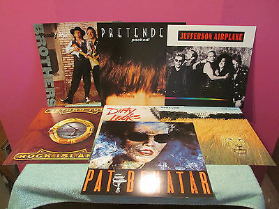 7 Rock Roll PROMO FLAT Poster 2-sided Pretenders Airplane Tull Vaughan 1980's