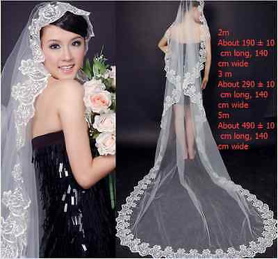 New 1T Wedding Cathedral Length White Bridal 5M Veil Embroidered Lace Edge Long