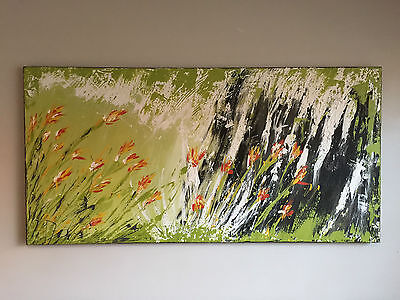 Lime Green Abstract Canvas Painting Original Art 152 x 76 x 4cm