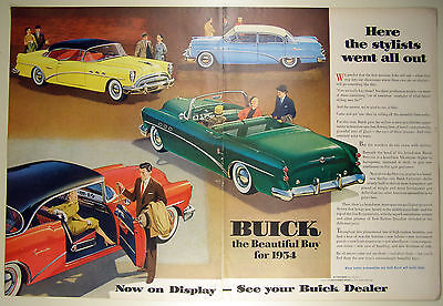 Vintage 1954 BUICK Automobile Large Two-Page Magazine Print Ad: CENTURY
