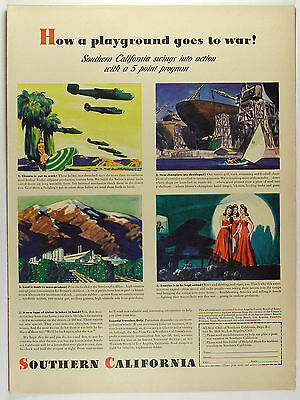 Vintage 1943 CALIFORNIA TOURISM Full-Page Large Magazine Print Ad -  WWII