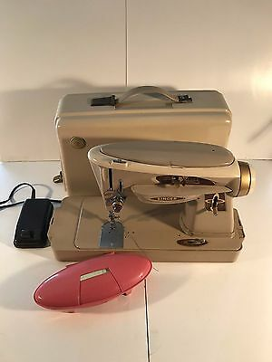 Vintage 1961 Singer 503A Slant-O-Matic Rocketeer Sewing Machine, Case, & Extras