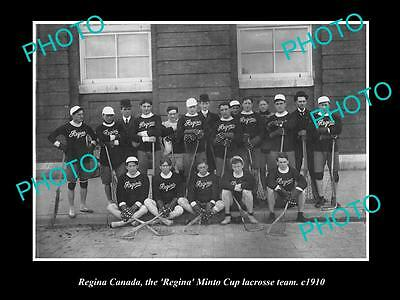 Old Large Historic Photo Of Regina Canada, Regina Minto Cup Lacrosse Team 1910