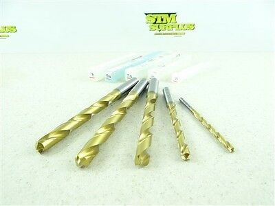 """New!! Lot Of 5 Hss Tin Coated Drills 3/16"""" To 29/64"""" Osg"""
