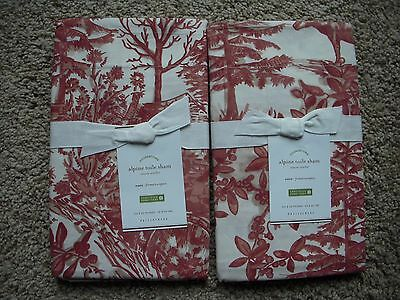 POTTERY BARN Alpine Toile Set of 2 EURO Shams - NEW Red
