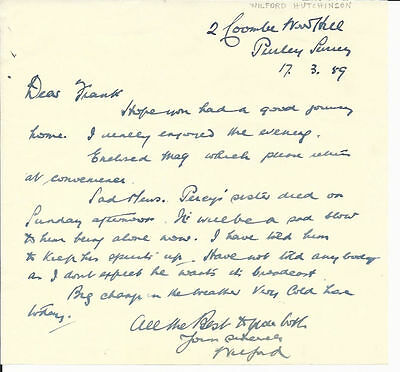 British Magician Wilford Hutchinson Signed Note-1959-vFINE-Oh