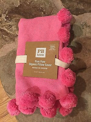 Pottery Barn Teen Pom Pom Organic Pillow Cover Lumbar 12x24  Pink NWT'S
