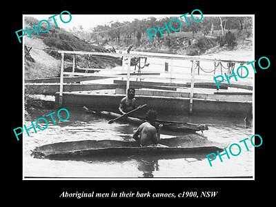 OLD LARGE HISTORIC PHOTO OF ABORIGINAL MEN IN THEIR BARK CANOES c1900 NSW