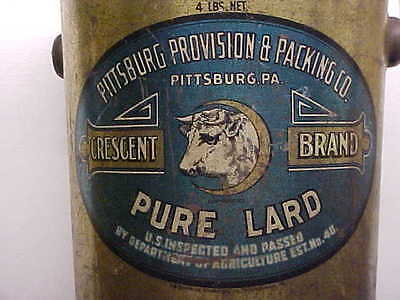 PA, PITTSBURG Provision & Packing Co CRESCENT BRAND Pure Lard 4 Lb. Tin Can