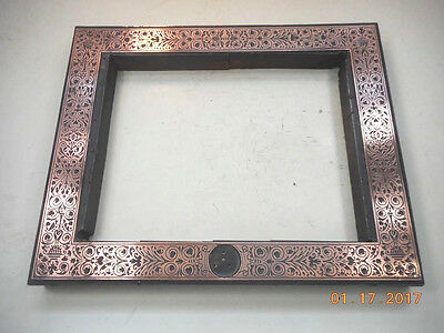 Printing Letterpress  Block, Decorative Flower Frame Copper On Wood, Antique
