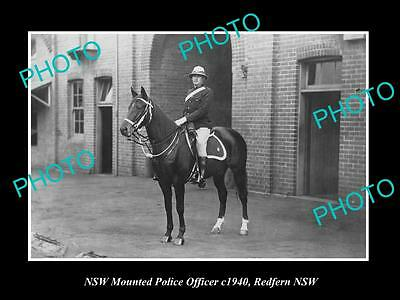 OLD LARGE HISTORIC PHOTO OF NEW SOUTH WALES MOUNTED POLICE OFFICER c1940