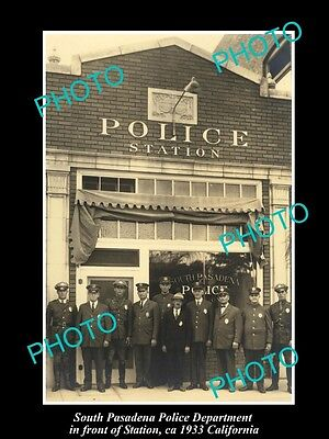 OLD LARGE HISTORIC PHOTO OF SOUTH PASADENA CALIFORNIA, POLICE DEPARTMENT c1933