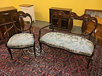 Antique Mahogany Victorian Parlor Set with Mother of Pearl Inlay