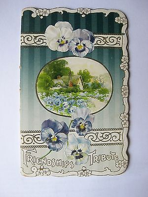 FRIENDSHIPS TRIBUTE - Small Token Book Pansies on Cover