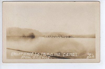 c1915 RPPC Entrance To Panama Canal From Atlantic