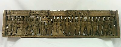 Rare  Antique Hand Carved Wooden Hindu Ramayana  Wall Hanging Panel !!