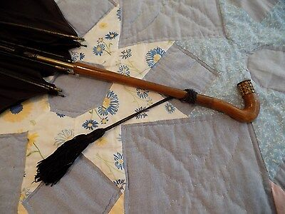 Vintage Umbrella Walking Stick Brass Accents Curved Wood Handle France