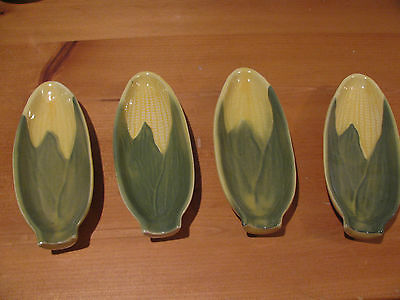 4 Vintage Shawnee Yellow Corn King #79 Corn On The Cob Holders Or Relish Dishes