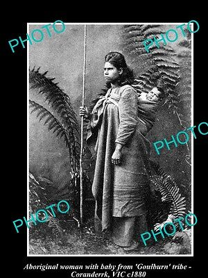 OLD LARGE HISTORICAL PHOTO OF ABORIGINAL WOMAN & BABY, GOULBURN TRIBE c1880