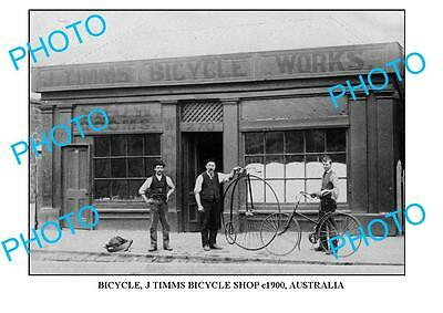 LARGE OLD PHOTO OF  J TIMMS BICYCLE SHOP, c1900, AUST