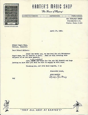 Magic Dealer Mike Kanter-Signed letterhead page-1952-To Ed Miller-Chi-vFINE-Oh