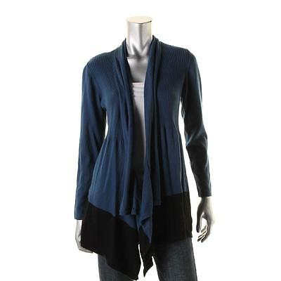 Style & Co. 7538 Womens Blue Colorblock Ribbed Knit Cardigan Sweater M BHFO