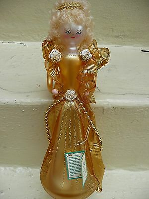 De Carlini Italy Vintage GOLD WOMAN Tree Topper Blown Glass Christmas Ornamment