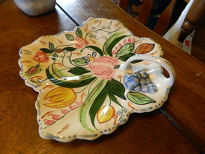 Blue Ridge Southern Potteries hand painted flowers Maple Leaf Tray Serving Plate