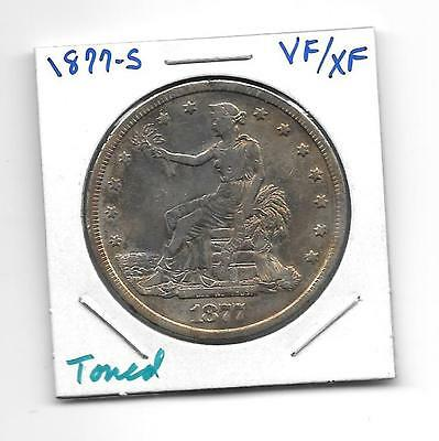 1877-S Trade Dollar Vf/xf Cleaned Long Ago, Beautifully Toned