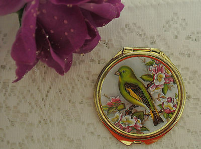 Vintage Old Small Compact Goldtone Mirror - Bird And Flower Scene